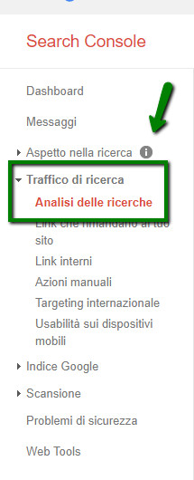 analisi traffico search console