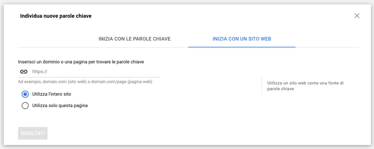 Schermata Keyword Planner Tool di Google - funzionalità analisi parole chiave sito web